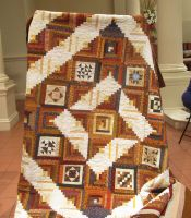 Brown and White Log Cabin Quilt
