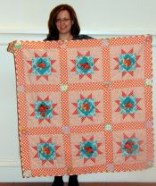 Rose Kowalski-In the Fishbowl, an orange fish quilt