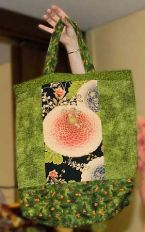 Green Quilted Tote Bag with Pink Flowers