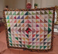 Karen Monath - Half Square Triangle Quilt from SWAP fabrics