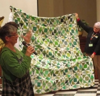 "Claire Surovell - Green and White ""Storm at Sea"" Quilt"